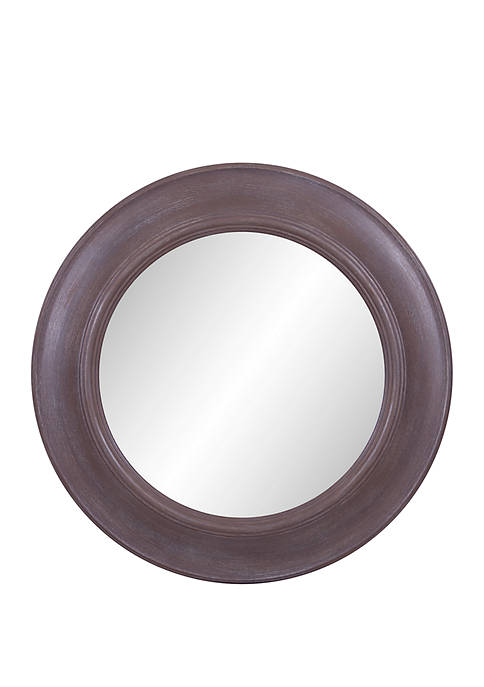 24 Rustic Round Mirror in Distressed Taupe