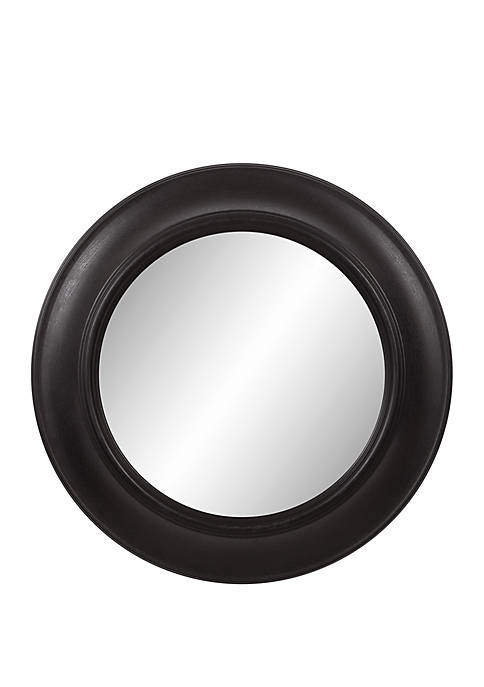24 Rustic Round Mirror in Distressed Black