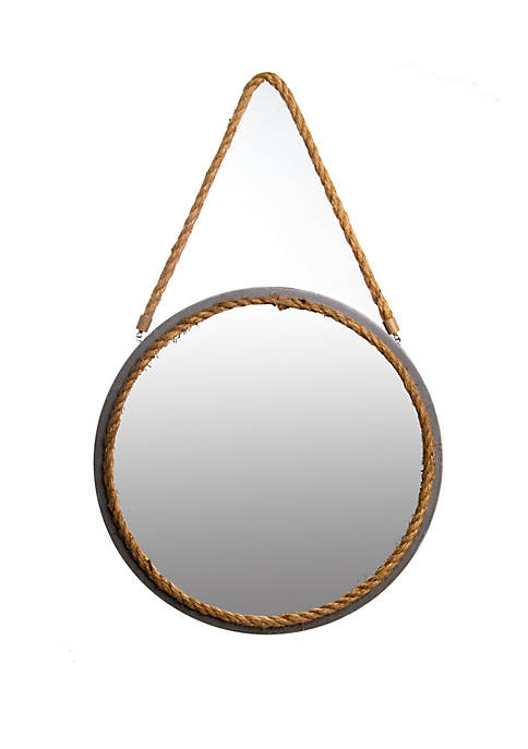 16 Distressed Grey Round Rope Wall Mirror