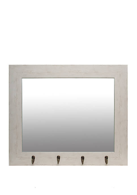 White Washed Foyer Mirror with Hooks