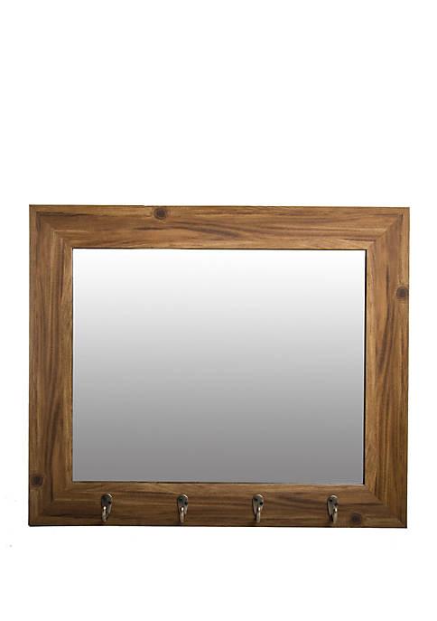 Medium Wood Foyer Mirror with Hooks