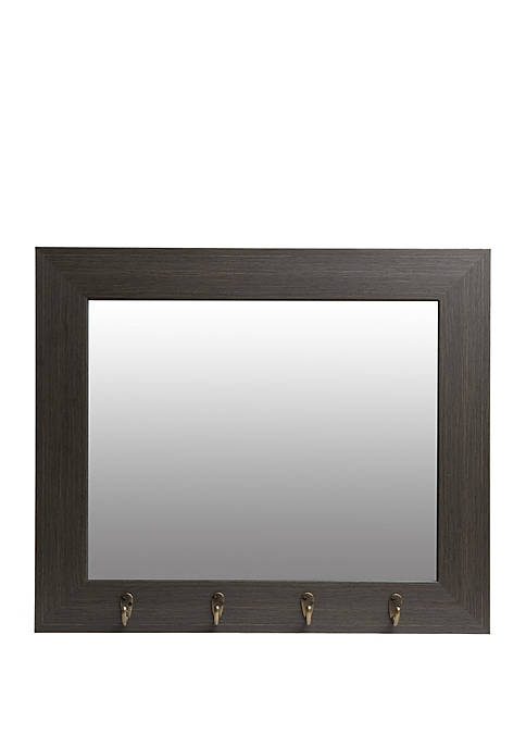 Gray Washed Foyer Mirror with Hooks