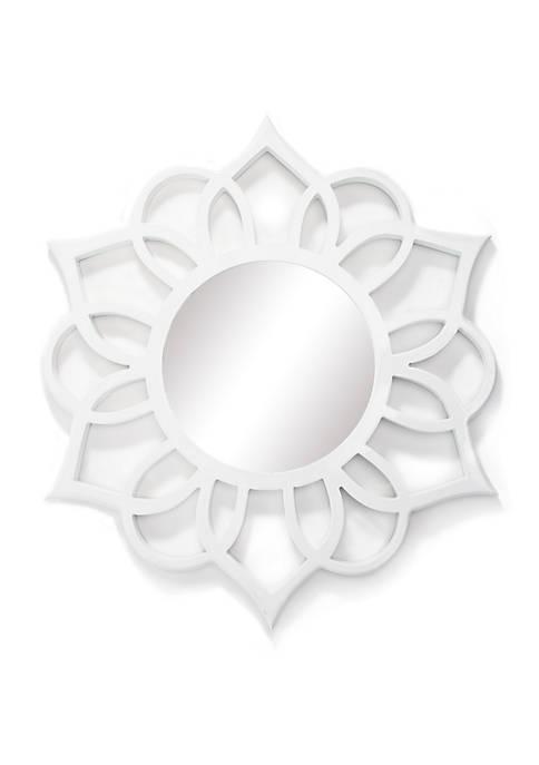 White Round Ornate Accent Mirror