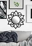 Black Round Ornate Accent Mirror