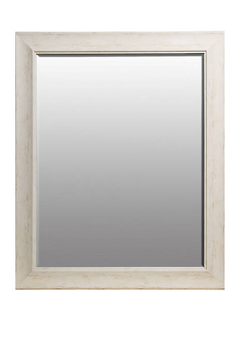 Traditional White Wash Beveled Wall Mirror