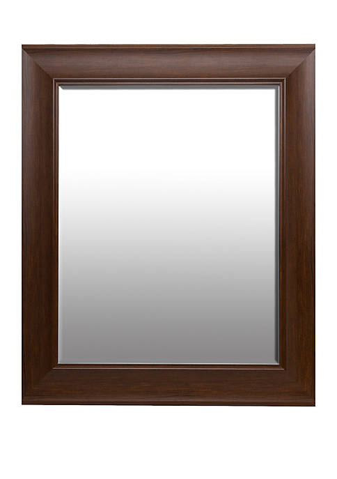 Patton Picture Traditional Dark Wood Beveled Wall Mirror