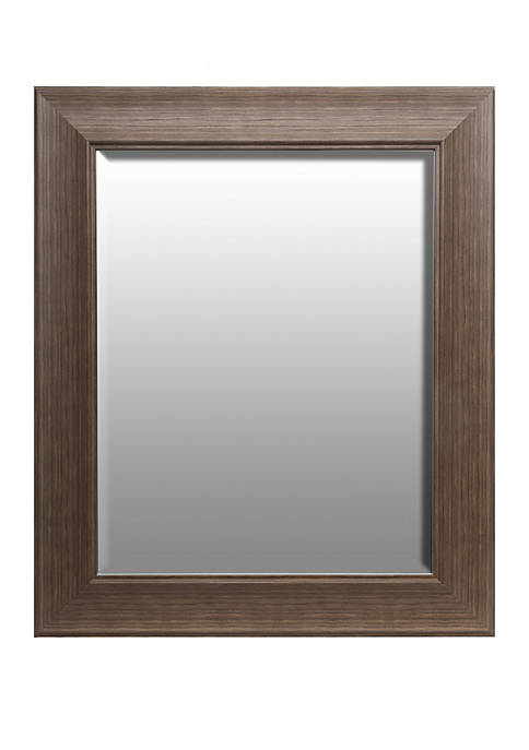 Traditional Taupe Beveled Wall Mirror