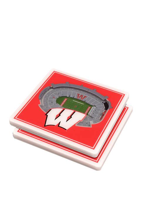 NCAA Wisconsin Badgers 3D StadiumViews Set of 2 Coasters - Camp Randall Stadium