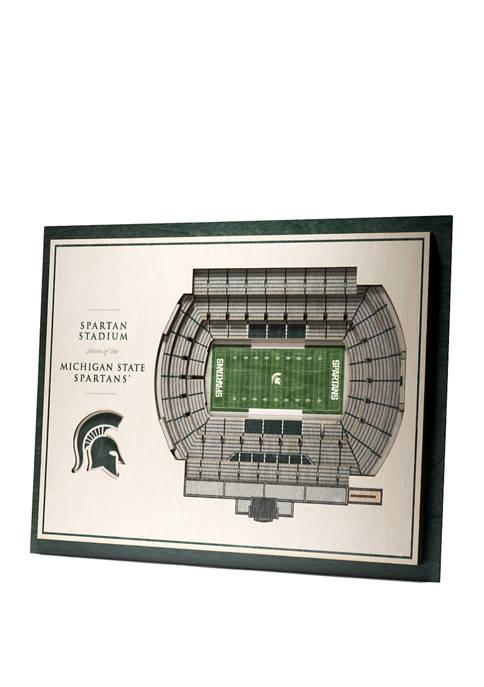 NCAA Michigan State Spartans 5-Layer Stadium Views 3D Wall Art - Spartan Stadium
