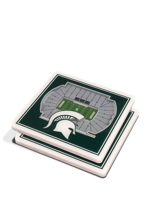 NCAA Michigan State Spartans 3D StadiumViews Set of 2 Coasters Set - Spartan Stadium