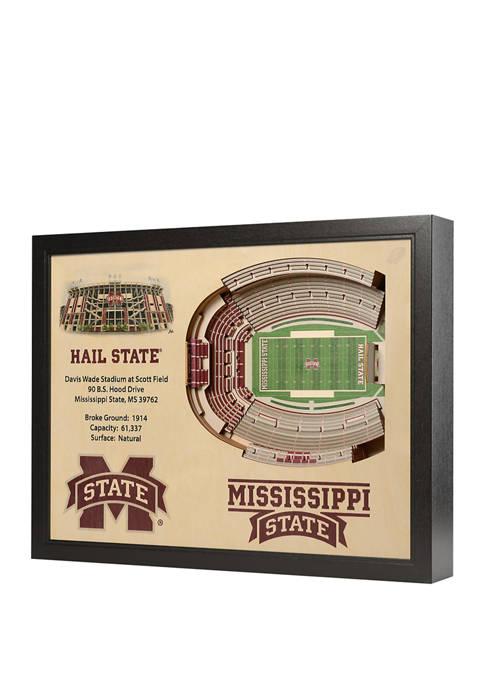 NCAA Mississippi State Bulldogs 25-Layer StadiumViews 3D Wall Art - Davis Wade Stadium at Scott Field