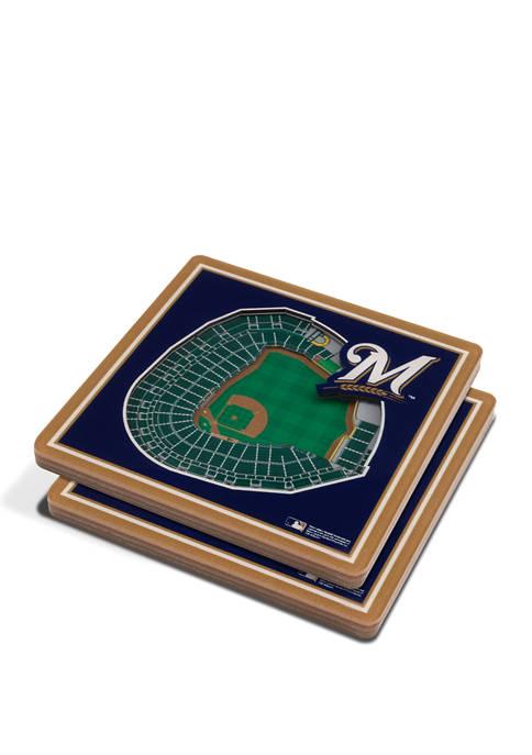 MLB Milwaukee Brewers 3D StadiumViews 2-Pack Coaster Set - Miller Park