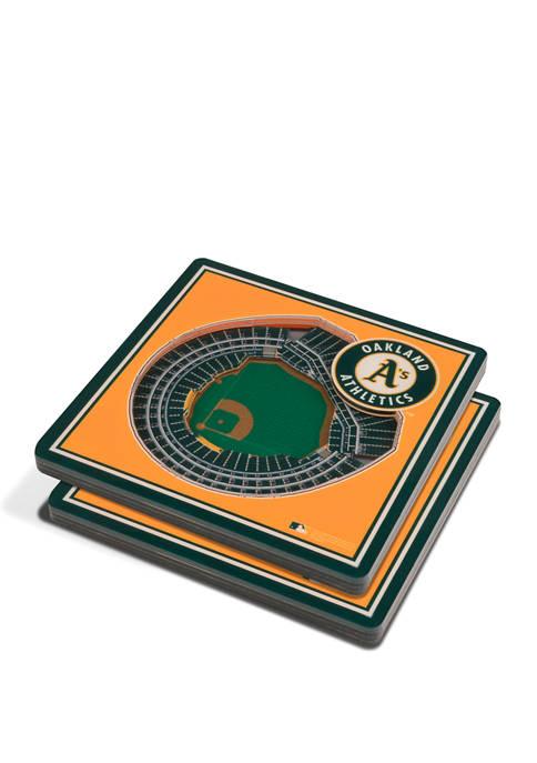 MLB Oakland Athletics 3D StadiumViews 2-Pack Coaster Set - Oakland-Alameda County Coliseum