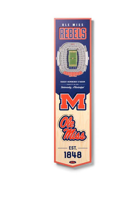 NCAA Mississippi Rebels 3D Stadium Banner-8x32