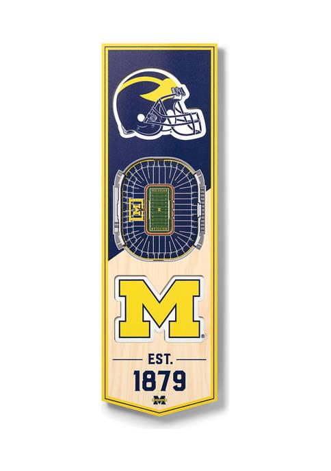 NCAA Michigan Wolverines 3D Stadium Banner-6x19