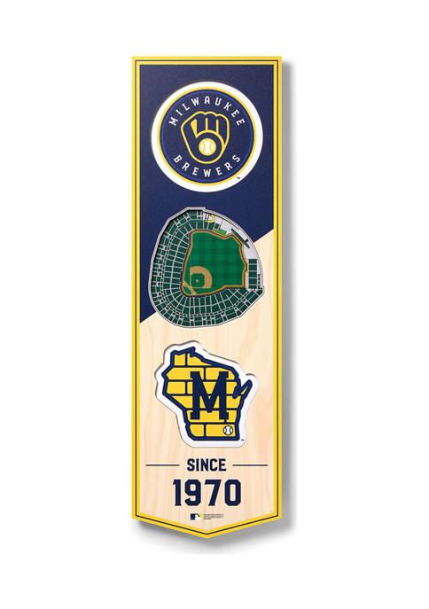MLB Milwaukee Brewers 3D Stadium Banner-6x19