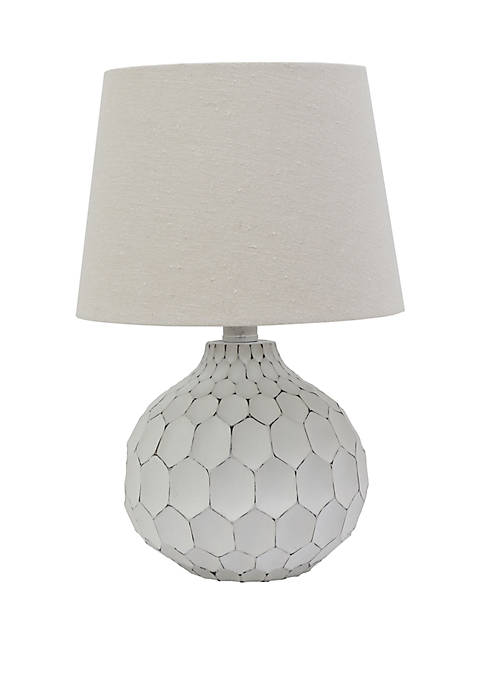 Décor Therapy Bing Faceted Table Lamp with Linen
