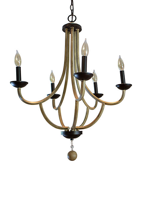 Maddox Metal and Wood 5 Light Chandelier