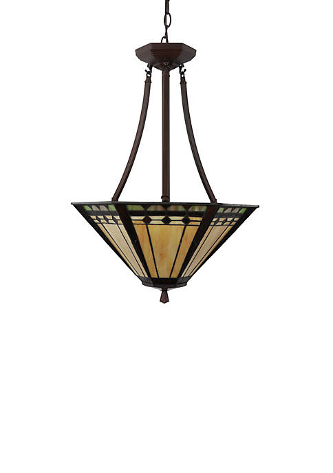 Décor Therapy Lewis Tiffany Glass 3 Light Pendant