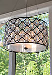 Claire Crystal and Steel Framework 3 Light Drum Pendant