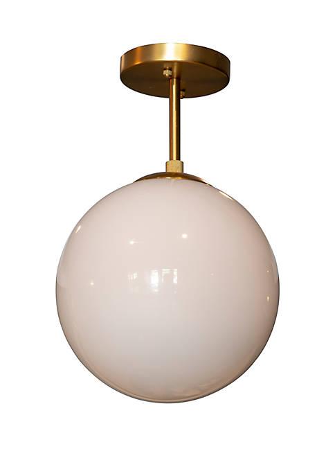 Michael Milk Glass One Light Semi Flush Mount Ceiling Light