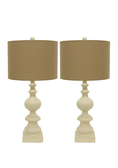 Décor Therapy Set of 2 Distressed Cream Resin