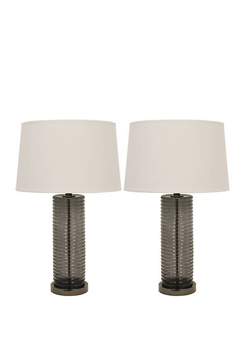 Set of 2 Tall Black Ribbed Glass Table Lamps