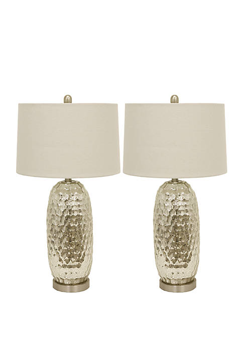 Set of 2 Antique Mercury Dimple Glass Table Lamps