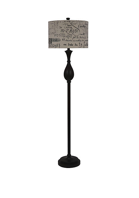 Selene Espresso Wood Finished Floor Lamp with Script Shade