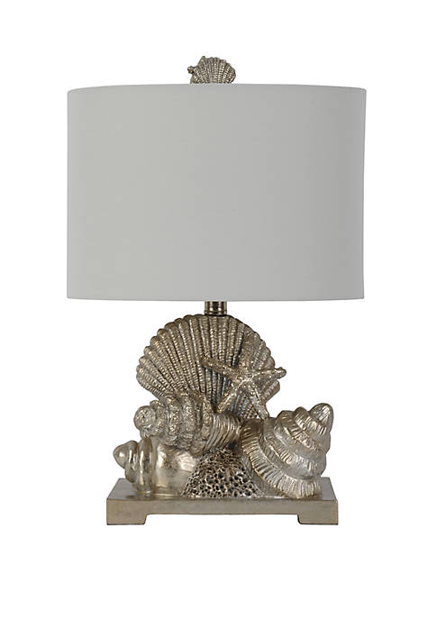 Décor Therapy Cordelia Silver Leaf Seashell Table Lamp