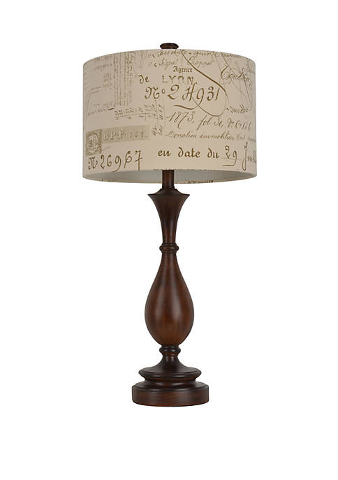 29.25 in Wood and Script Table Lamp