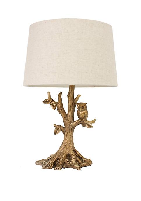 Textured Gold Leaf Owl Lamp