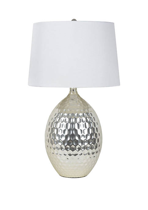 Décor Therapy Silver Hammered Ceramic Table Lamp