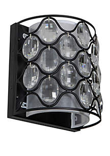 Décor Therapy Claire Crystal and Steel Framework 2 Light Wall Sconce