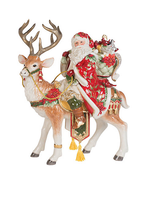 Fitz and Floyd Cardinal Santa and Stag Centerpiece