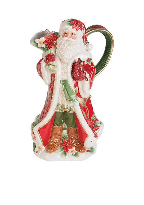 Fitz and Floyd Cardinal Santa Pitcher