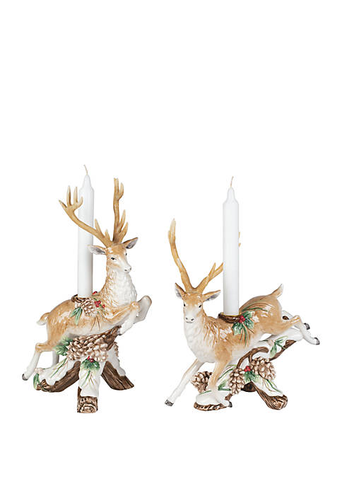 Fitz and Floyd Forest Frost Leaping Deer Candleholder,