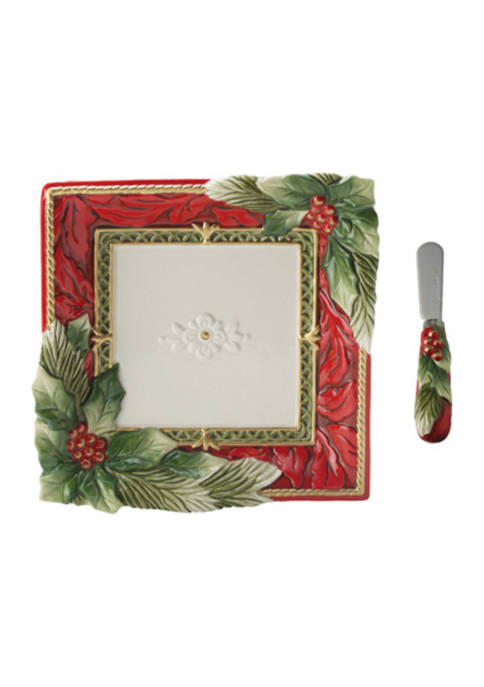 Holiday Home Snack Plate  with Spreader