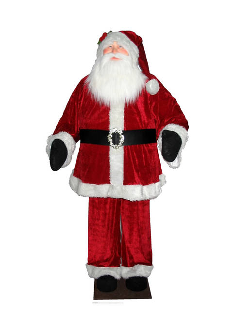 Red Velvet Standing or Sitting Santa Unlit
