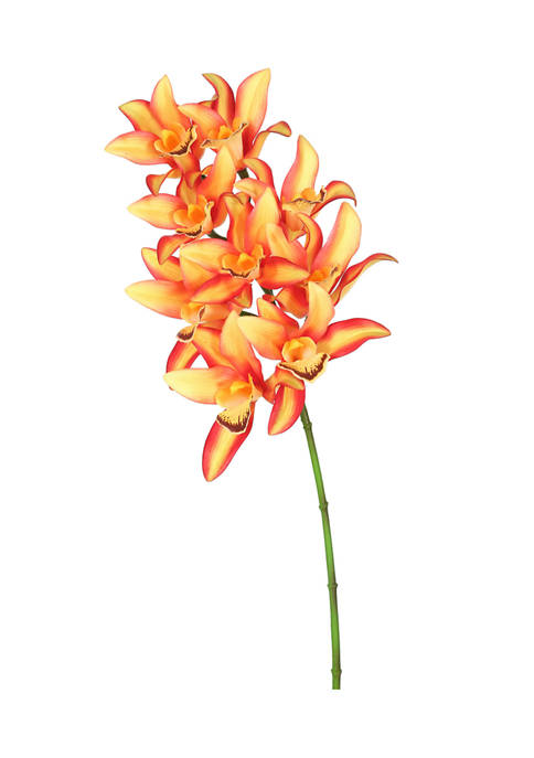 Real Touch Orange Orchid Floral Stem