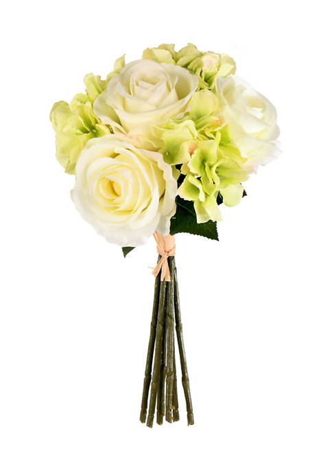 Green Cream Rose Hydrangea Bouquet