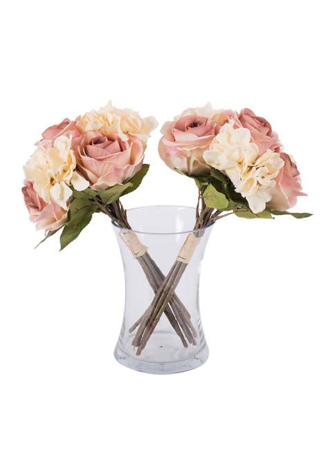 Cream Pink Rose Hydrangea Bouquet