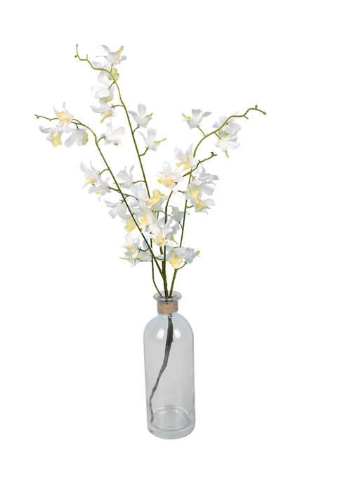 Vickerman Mini White Orchid in a Glass Pot
