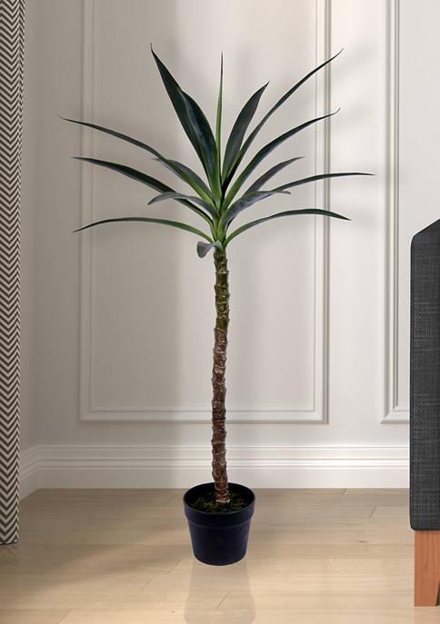 Vickerman Green Yucca Tree in Black Planters Pot
