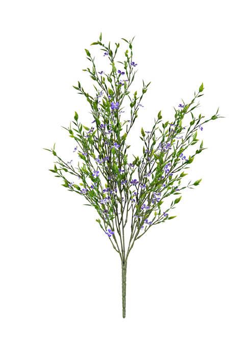 UV Coated Bush with Mini Purple Flowers and Greenery