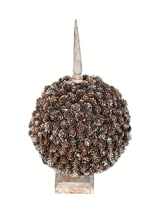 Single Ball Cedar and Pine Cone on Finial Stand