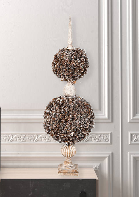 Tall Double Ball Cedar and Pine Cone on Finial Stand