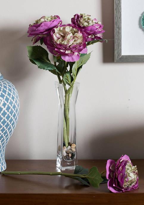 Purple Peony Rose Stem - Set of 6