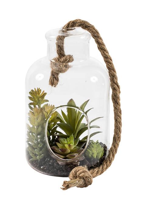 Vickerman Green Assorted Succulents in Glass Jar