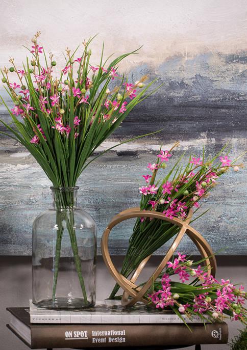 Green and Pink Grass Flower Bush - Set of 4
